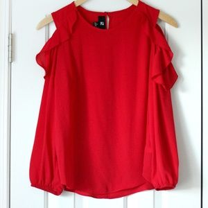 Red cold shoulder ruffle long sleeve top blouse